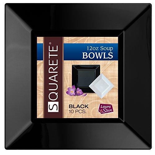 Squarete 12 ounce Square Black Soup Bowlsl Heavy Duty Elegant Disposable 12 oz Square Party Soup Bowls 10 Bowls Per Package Pack of 3