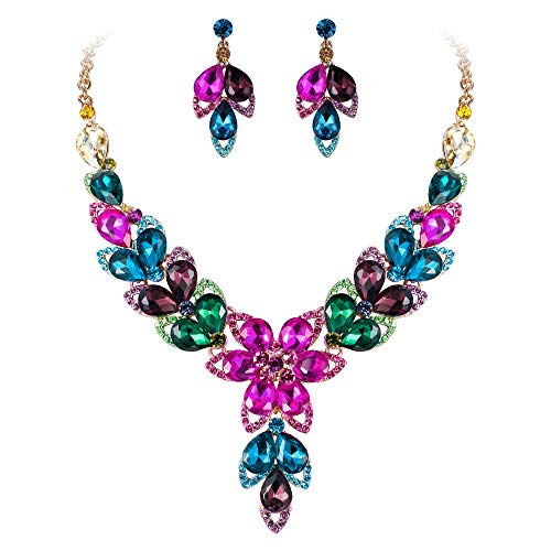 - BriLove Women's Wedding Bridal Crystal Multi Teardrop-Shape Flower Hollow Enamel Statement Necklace Dangle Earrings Set Multicolor Colorful Gold-Toned