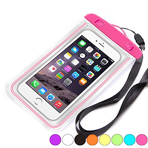 (mikey Fluorescence transparent phone waterproof case/Luminous IPX8 Universal Waterproof Case for iPhone 8/7/7 Plus/6S/6/6S Plus/SE/5S/Huawei/Galaxy/Google Pixel/LG/HTC)