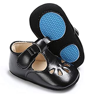 LAFEGEN Baby Girls Mary Jane Flats with Bownot Non Slip Soft Sole PU Leather Newborn Infant Toddler First Walker Cirb Dress Shoes, 6-12 Months Infant,01 Black Baby Girl Shoes
