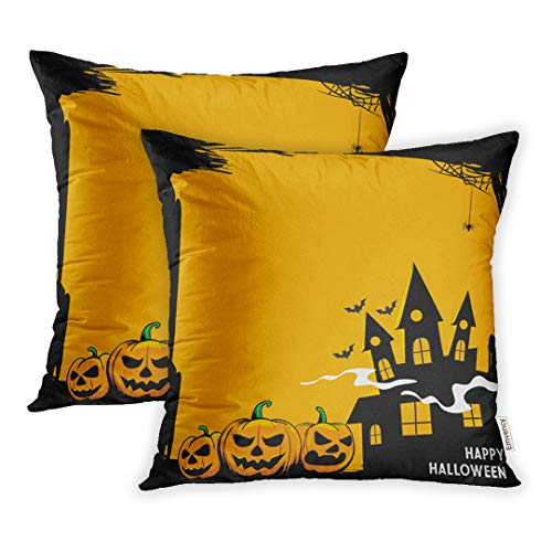 Emvency 16x16 Inch Decorative Set of 2 Throw Pillow Cover Orange Autumn Halloween Scary Pumpkins Haunted Mansion Bats Home Cushion Sofa Two Sides Pillow Case