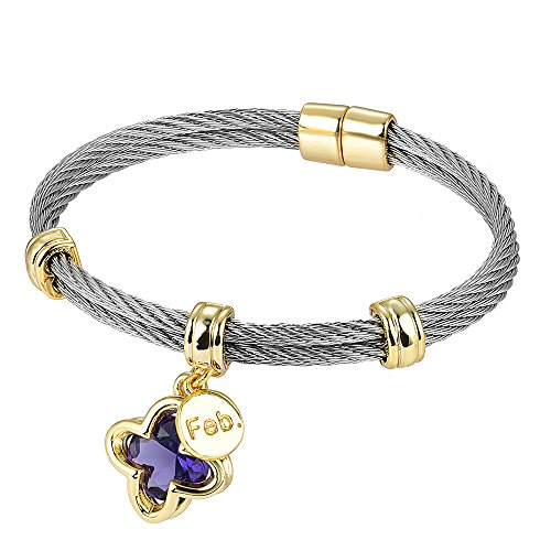 BIJOUX BOBBI [Luxury Packaging] Premier Birthstones Beautiful Twisted Cable Bangles - February - A4996BKA