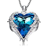 Fashion Drop Pendant Crystal Necklace For Women'Heart Of The Ocean' Angel Wing Love Heart Necklace Jewelry Gifts For Women Girls …