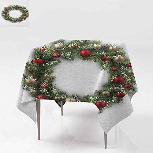 DUCKIL Oil-Proof and Leak-Proof Tablecloth Fresh Classical Christmas Wreath Vivid Balls Snowy Fir Felicitation Theme Party W36 xL36 Green Gold Red