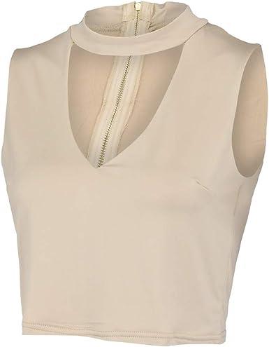 Chaleco de Mujer Camiseta Sin Mangas Cremallera de Color ...