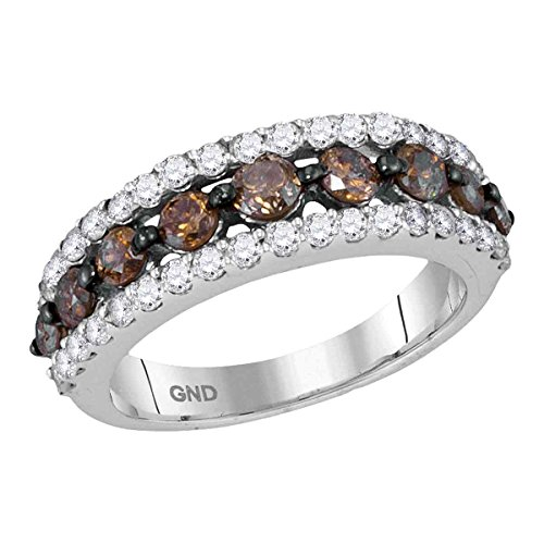 Roy Rose Jewelry 10K White Gold Ladies Cognac-brown Colored Diamond Band Ring 2 Carat tw ~ Size 7 2ct Tw Diamond Setting