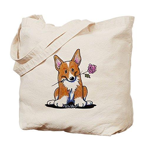 Bolso de totalizador de CafePress - Corgi w/bolso de totalizador de la flor