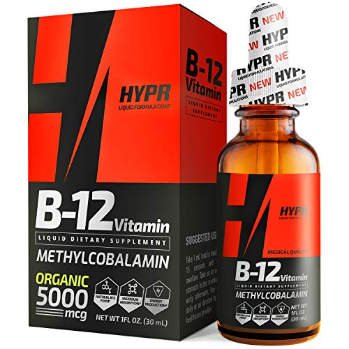 HYPR Vitamin B12 Sublingual Liquid Drops – 5000 MCG Supplement with Methylcobalamin (Methyl B-12) – Max Absorption B 12…
