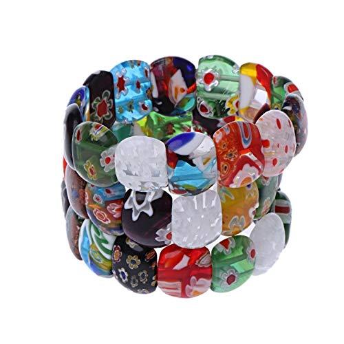 Bangles - Women Elasticated Cord Glass Bead Bracelets Colorized Millefiori Bangles T44 - Iphone Boys Sports Mirror Lanyard Belt Cell Unicorn Teen Magnet Case Keychain Bundle Animal Events Socke (Rose Millefiori)