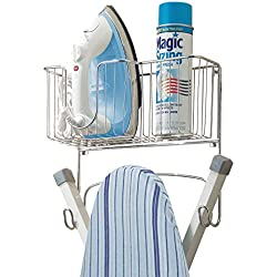 mDesign Wall Mount Ironing Board Holder with Large Storage Basket - Holds Iron, Board, Spray Bottles, Starch, Fabric Refresher for Laundry Rooms - Durable Steel, Chrome