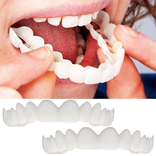 HIGHMIGOU 2Pcs Comfort Fit Flex Cosmetic Teeth Denture Teeth Top Cosmetic Veneer (1Pc Top 1Pc Bottom 2pc Adhesive) (White) ()