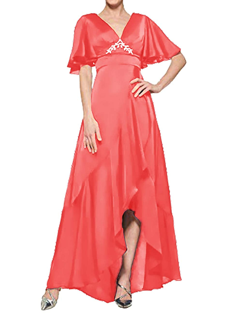 Peach H.S.D Mother of The Bride Dresses V Neck Evening Dress Asymmetrical Formal Gown Empire