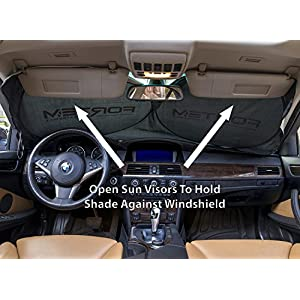 "FORTEM Car Windshield Sunshade - Foldable Nylon Wind Shield Sun Shade - Visor Heat Shield Protector - Keeps Out UV Rays - Protects Vehicle Interior & Keeps it Cool - Medium (59"" x 31"")"
