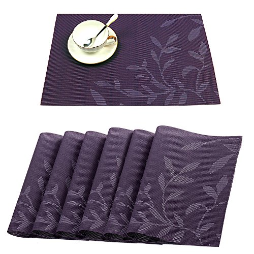 HEBE Placemats Set of 6 Washable Placemats for Dining Table Heat Insulation Stain Resistant Kitchen Table Mats Woven Vinyl Crossweave Place Mats