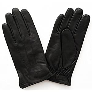 Glove.ly Men's Classic Leather Gloves, Black, Medium