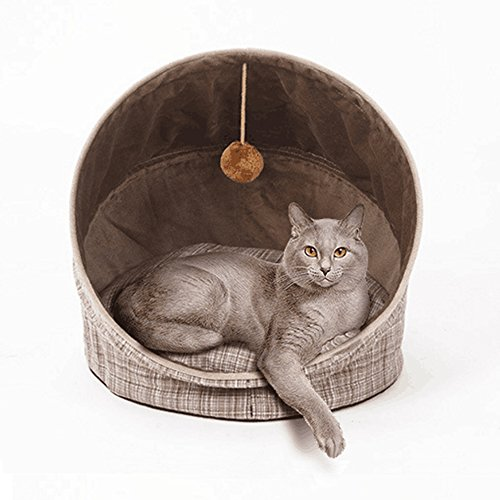 Price comparison product image [Newest Design] LINKIM Round Pet Bed for Cats and Small Dogs, Luxury Solid Washable Foldable Pet Cave House Bed Tent with  Toy ball18.5-inch, Brown