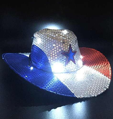 GIFTEXPRESS Light Up Patriotic Cowboy Hat/Patriotic Sequin Cowboy Hat/Star Cowboy Hat/Patriotic LED Cowboy Hat/4th of July Costume (Cowboys Led)