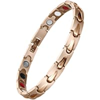Women Stainless Steel Magnetic Therapy Bracelet 4 Element Rose Gold for Arthritis Pain Relief