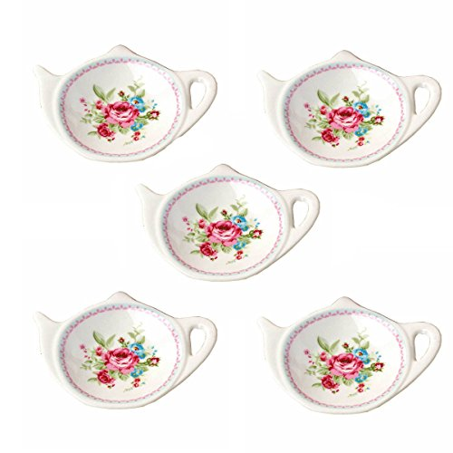 Set of White Porcelain Ceramic with Flower Trim Teapot-Shaped Tea Bag Holder Tea Bag Coasters, Spoon Rests; Classic Tea Time Saucer Seasoning Dish Set - Teapot Time Tea