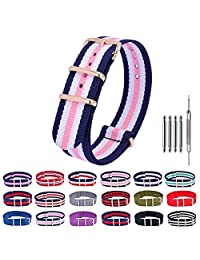 Nylon Watch Bands Rose Gold NATO Watch Strap Replacement Fabric Ballistic Military 18mm 20mm 22mm Blue
