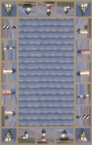 KAS Rugs 1802 Colonial Lighthouse Waves Runner, 2 by 8-Feet, Blue