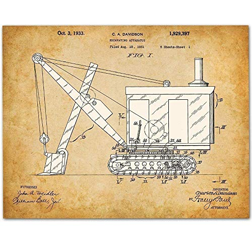Excavator - 11x14 Unframed Patent Print - Makes a Great Art Gift Under $15 for Boy's Room