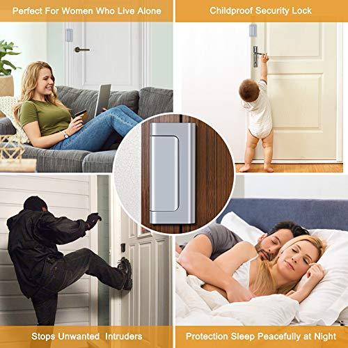 Home Security Door Lock, Childproof Door Reinforcement Lock with 3'' Stop Withstand 800 lbs for Inward Swinging Door, Upgrade Night Lock Double Protection Your Home (Silver-2 Pack) by Senignol (Image #6)
