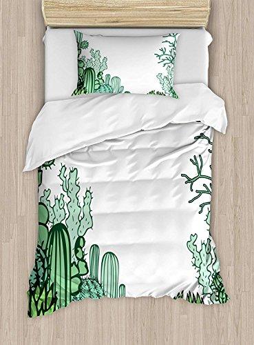 Full Bedding Sets for Boys,Cactus Duvet Cover Set,Arizona Desert Themed Doodle Cactus Staghorn Buckhorn Ocotillo Plants,Cosy House Collection 4 Piece Bedding Sets