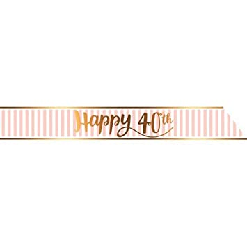 Louises Party Deals Rosa Chic Feliz 40 Banda de Cumpleaños ...