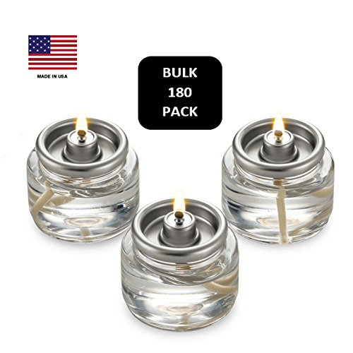 Bulk Tealight Fuel Cells Liquid Paraffin Oil Candles - Disposable - 8 Hour Burn (180 Pack) Made in ()