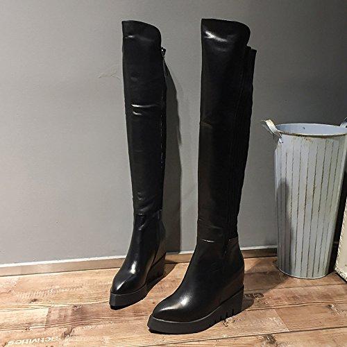 SHOESHAOGE Les Chaussures De Femmes À L'Automne De La Pente À Fond Épais Talon Bottes Bottes Femmes Couleur unie 3NFYn