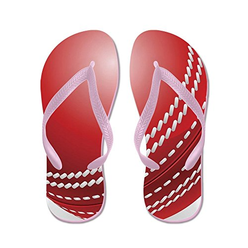 CafePress Shiny Red Traditional Cricket Ball - Flip Flops, Funny Thong Sandals, Beach Sandals Pink