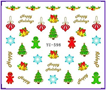 Nails Art & Tools Nail Sticker Christmas Xmas Santa Clause Snow Man Deers Water Transfers Stickers Nail Decals Stickers Water Yu597-608 Beauty & Health