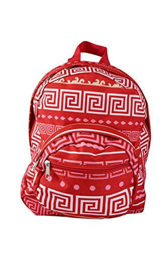 Mini Backpack - Greek Key Pattern - Red with White