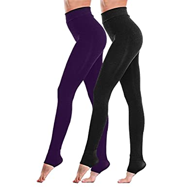 selezione migliore 363c6 3c21f Fixget Leggings donna, 2 paia di leggings invernali a vita alta Leggings  donna di potenza stretch gambali, inverno super denso caldo velluto  leggings ...