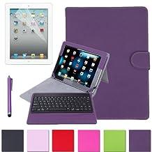 HDE Folding iPad Case Leather Cover Stand Bluetooth Keyboard + Stylus Pen for iPad 2 iPad 3 iPad 4 (Purple)