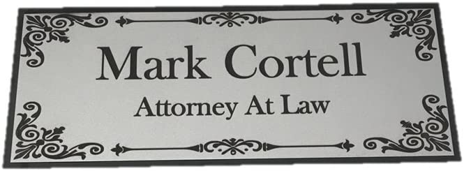 """Beautifully Engraved 8"""" x 3"""" Plaque, Plate, Name Plate, Door Name Plate, Name Badge in Silver with Black Engraving"""