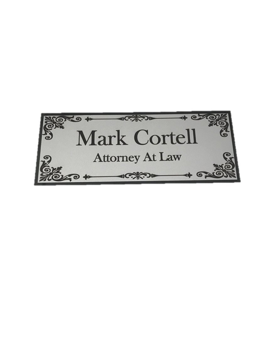 Beautifully Engraved 8'' x 3'' Plaque, Plate, Name Plate, Door Name plate, Name Badge in Silver with Black Engraving