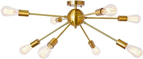 Sputnik Chandelier Brushed Brass 8 Light Rustic Flush Mount Ceiling Light Gold Modern Pendant Lighting Fixtures for Kitchen Bathroom Dining Room Bedroom Hallway