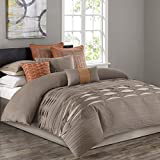King Size Comforter Sets 110 X 96 N Natori Nara King Size Bed Comforter Set - Neutral, Striped – 4 Pieces Bedding Sets – 100% Cotton Bedroom Comforters