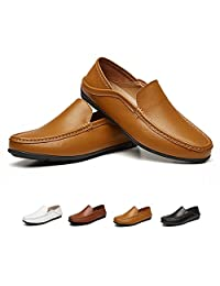 HooyFeel Men's Leather Driving Shoes Non Slip Slipper Casual Moccasin Resistant Loafers Shoes
