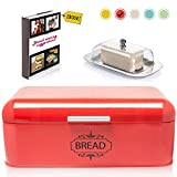 Vintage Bread Box For Kitchen Stainless Steel Metal in Retro Red + FREE Butter Dish + FREE Bread Serving Suggestions eBook 16.5' x 9' x 6.5' Large Bread Bin storage by All-Green Products