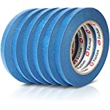 XFasten Professional Blue Painters Tape, Multi-Use, 1/2-Inch by 60-Yard, Pack of 6, Masking Tape Blue