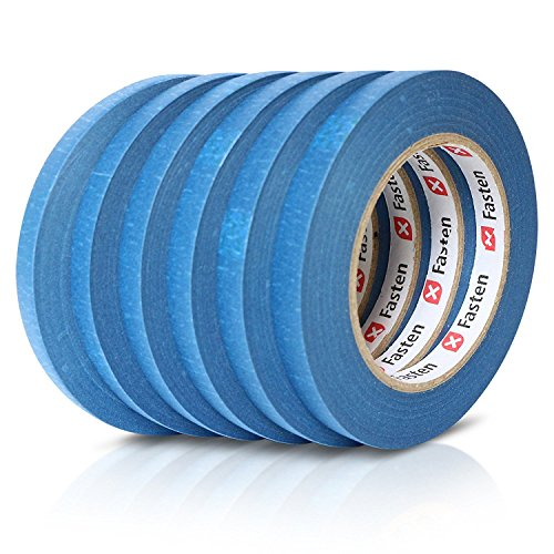XFasten Professional Blue Painters Tape, Multi-Use, 1/2-Inch by 60-Yard, Pack of 6, Masking Tape ()