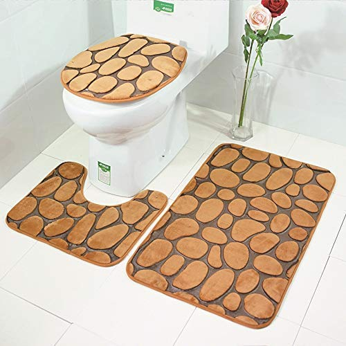 Embossing Pebbles - Loskid 3D Pebble Embossing Bathroom Mat 3 Pieces Set Toilet Mats and Covers Water Absorbent Anti
