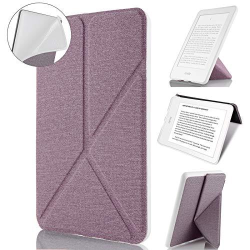 Capa Kindle Paperwhite, WB, Origami Auto Hibernação, Sensor Magnético, Silicone Flexível, Estilo Tecido, Lilás