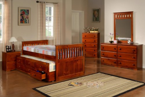 Full Captain's Bed Daybed with Trundle Bed and Storage Drawers - Creamy Espresso Finish (Captain Full Bed Youth)