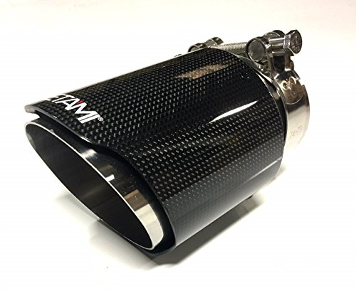 (NETAMI NT-2551 Polished Glossy Carbon Fiber and Stainless Steel Exhaust Tip Clamp-on Inlet:2.5