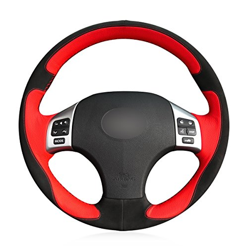 MEWANT DIY 3D Design Red Leather Black Suede Car Steering Wheel Cover for Lexus is IS250 IS250C IS300 IS300C IS350 IS350C F Sport 2005-2011