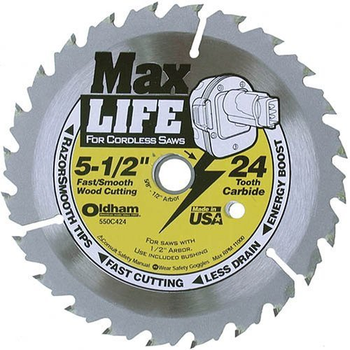 Oldham 550C424 Max Life 5-1/2-Inch 24 Tooth ATB Cordless Saw Blade with 5/8-Inch ()